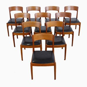 Danish Leather and Teak Dining Chairs by Kai Kristiansen for KS Møbler, 1960s, Set of 10