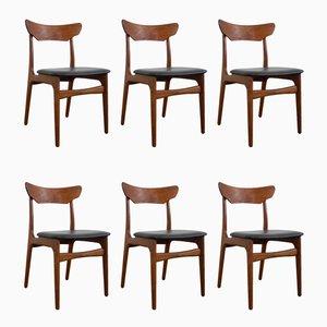 Danish Skai and Teak Dining Chairs by Schiønning & Elgaard for Randers Møbelfabrik, 1960s, Set of 6