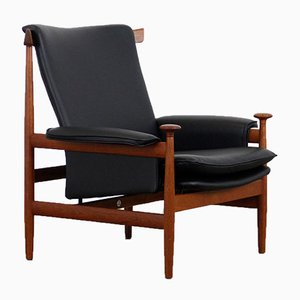 Danish Leather and Teak Bwana Model 152 Chair by Finn Juhl for France & Søn, 1960s