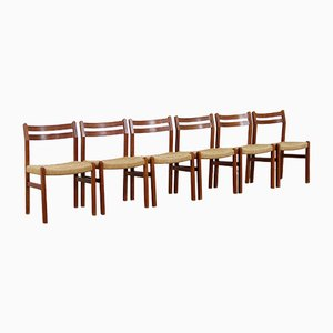 Danish Teak & Woven Paper Cord Dining Chairs, 1960s, Set of 6