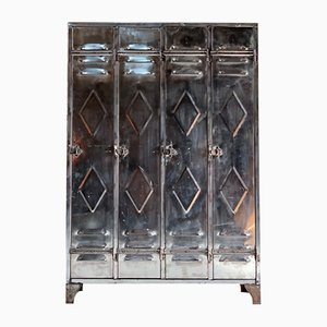 Mid-Century Industrial Polished Steel School Lockers Cabinets, 1940s