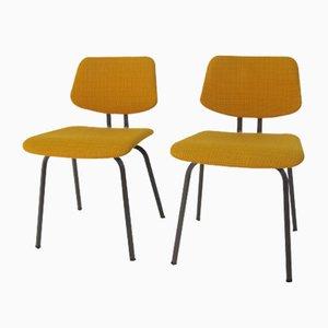 Beistellstühle mit Stoffsitz & Stahlgestell von Friso Kramer, 1960er, 2er Set