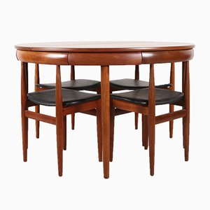 Danish Teak Roundette Dining Table & 4 Chairs Set by Hans Olsen for Frem Røjle, 1960s