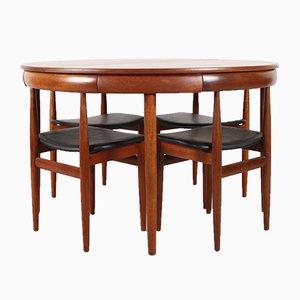 Mesa de comedor Roundette danesa de teca con 4 sillas de Hans Olsen para Frem Røjle, años 60