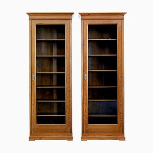 Antique Glass and Walnut Cabinets, Set of 2