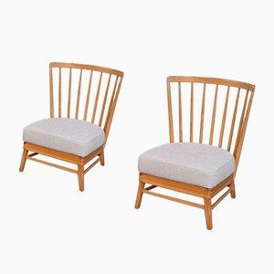 Moderne skandinavische Sessel mit Gestell aus Kiefernholz, 1950er, 2er Set