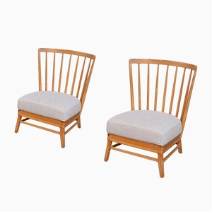 Scandinavian Modern Pine Lounge Chairs, 1950s, Set of 2