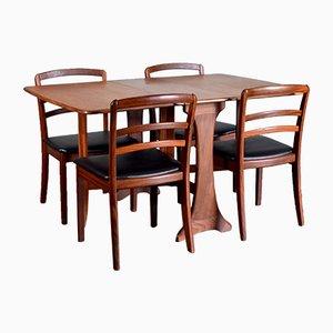 Esstisch & 4 Stühle mit Sitz aus Kunstleder & Gestell aus Teak von G-Plan, 1960er