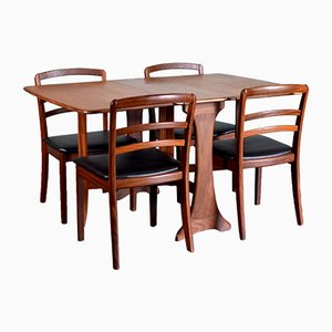 Leatherette and Teak Dining Table & 4 Chairs Set from G-Plan, 1960s