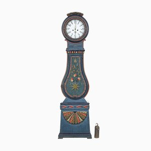 19th-Century Swedish Hand-Painted Mora Longcase Clock