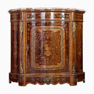Antiker geschwungener italienischer Schrank aus Mahagoni mit Intarsien