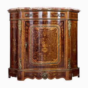Antique Italian Mahogany Inlaid Serpentine Cabinet