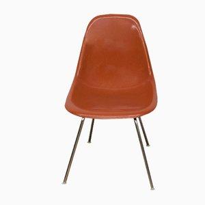 Sedia DSS-H vintage in fibra di vetro color terracotta di Charles & Ray Eames per Vitra