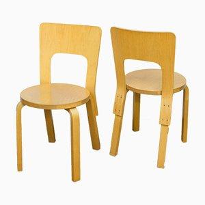 Vintage Modell 66 Stühle von Alvar Aalto für Artek, 4er Set