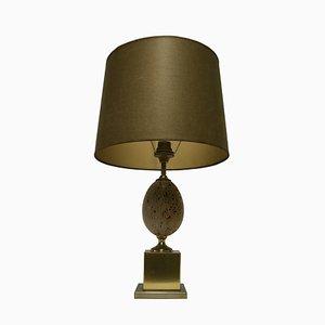 Französische Straußenei-Tischlampen aus Messing & Travertin, 1960er, 2er Set