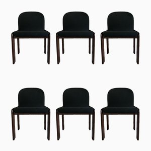 Italian Velvet and Walnut Dining Chairs by Tobia & Afra Scarpa for Gavina, 1960s, Set of 6