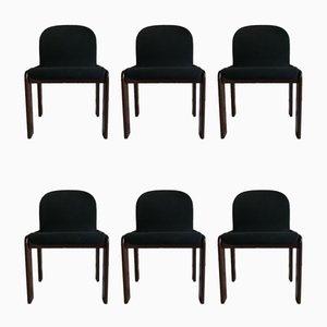 Italienische Esszimmerstühle mit Samtbezug & Gestell aus Nussholz von Tobia & Afra Scarpa für Gavina, 1960er, 6er Set