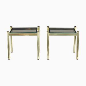 Brass and Smoked Glass Side Tables, 1970s, Set of 2