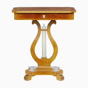 19th-Century Danish Birch Lyre-Shaped Side Table