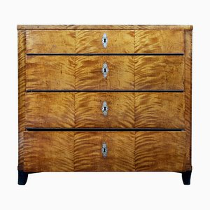 19th-Century Biedermeier Birch Chest of Drawers