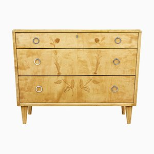 Art Deco Style Scandinavian Birch Inlaid Chest of Drawers, 1940s