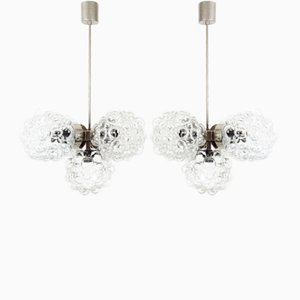 Chrome and Glass Ceiling Lamps from Kamenický Šenov, 1970s, Set of 2
