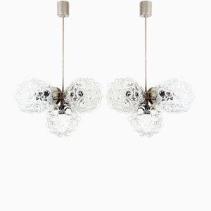 Deckenlampen aus Chrom & Glas von Kamenický Šenov, 1970er, 2er Set