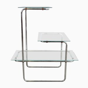 Bauhaus Chrome and Glass Plant Stand, 1930s