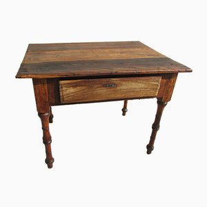 Antique Hand-Crafted French Cherry, Oak, and Elm Worktable