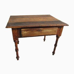 Mesa de trabajo francesa antigua de cerezo, roble y olmo