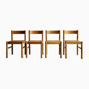 Chaises de Salle à Manger Modernistes en Bois et Osier, 1970s, Set de 4