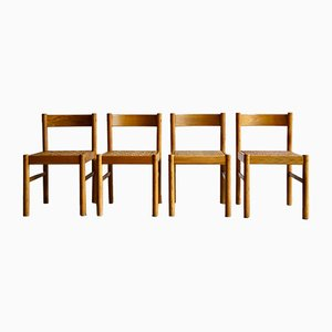 Modernist Wood & Wicker Dining Chairs, 1970s, Set of 4