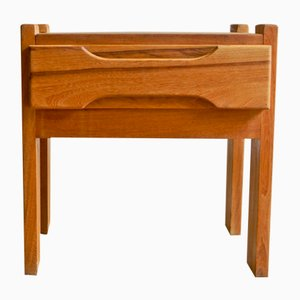 Vintage Modernist Wooden Nightstand, 1970s