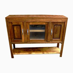 Vintage Art Deco French Glass and Oak Buffet, 1920s