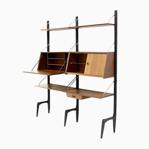 Brass and Teak Wall Unit by Louis van Teeffelen for WéBé, 1950s