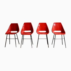 Mid-Century Red Fiberglass Dining Chairs, 1960s, Set of 4