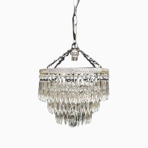 Art Deco Crystal Glass Chandelier, 1940s