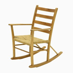 Mid-Century French Pine and Sisal Rocking Chair, 1950s