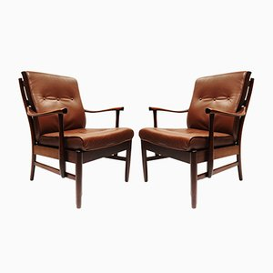 Scandinavian Modern Danish Leather and Wood Lounge Chairs, 1960s, Set of 2