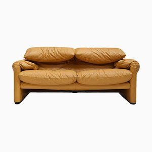 Maralunga Cognac Leather 2-Seater Sofa by Vico Magistretti for Cassina, 1970s