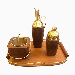 Modernes Mid-Century Cocktail-Set aus Holz & Messing von Aldo Tura, 1960er