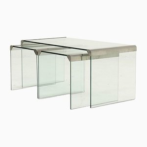 Italian Glass Nesting Tables by Pierangelo Gallotti for Galotti & Radice, 1970s
