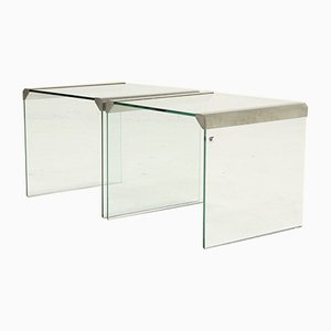 Italian Glass Side Tables by Pierangelo Gallotti for Galotti & Radice, 1970s, Set of 2
