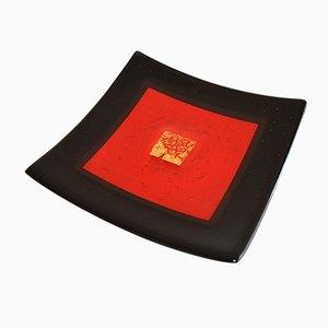 Centro de mesa Campielo Q20 de cristal de Murano en negro y rojo de Stefano Birello para VeVe Glass, 2019