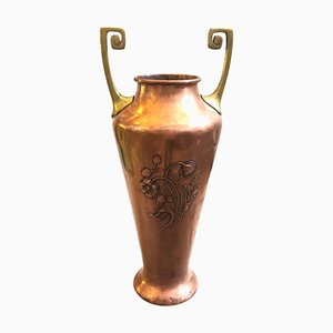 Vaso Art Nouveau in ottone e rame di WMF, Germania, inizio XX secolo