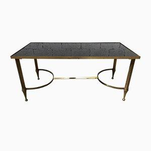 Table Basse Style Empire en Laiton et Verre Coloré, France, 1950s