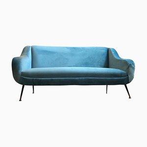 Mid-Century Modern Light Blue Velvet Italian Sofa, 1960s