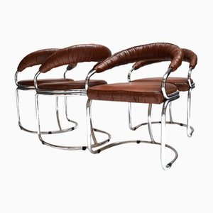 Italienische Sessel aus Kunstleder & Stahlrohr von Giotto Stoppino, 1970er, 4er Set