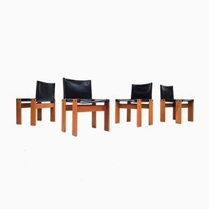 Italian Modern Monk Dining Chairs by Tobia & Afra Scarpa for Molteni, 1974, Set of 4