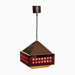 Lampe à Suspension Scandinave en Cuivre et Verre Rouge par Hans-Agne Jakobsson pour Markaryd, 1950s